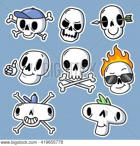 Creative Funny Skull Stickers Set For Tattoo Design. Cartoon Cute Dead Skeleton Heads For Colorful G