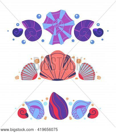Set Of Spacers With Seashells, Sand And Bubbles. Vector Ocean Design Element. Hand Drawn Flat Baby M
