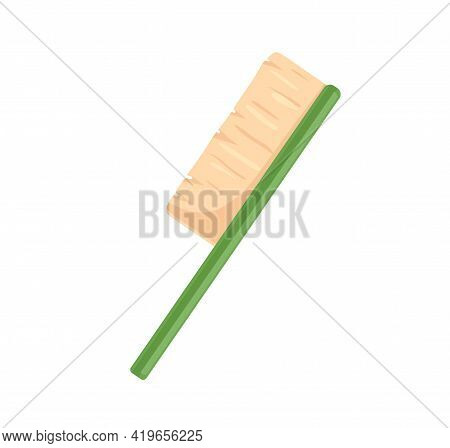Sweeping Brush With Natural Bristle And Handle. Side View Of Floor Cleaning Tool. Flat Vector Illust