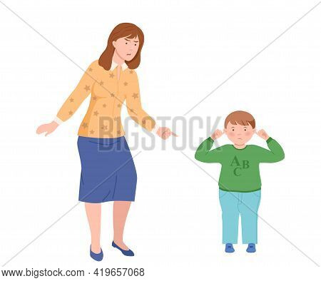 Annoyed Dad Scolding Her Son Closing His Ears Vector Illustration