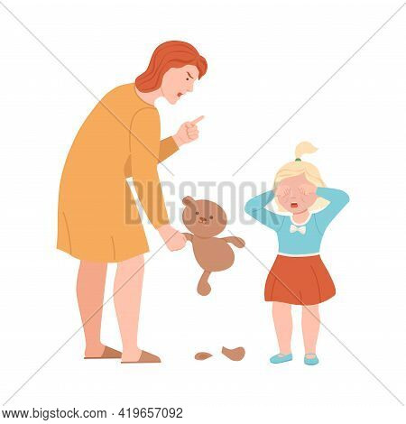 Annoyed Mother Scolding Her Daughter For Ripped Teddy Bear Vector Illustration