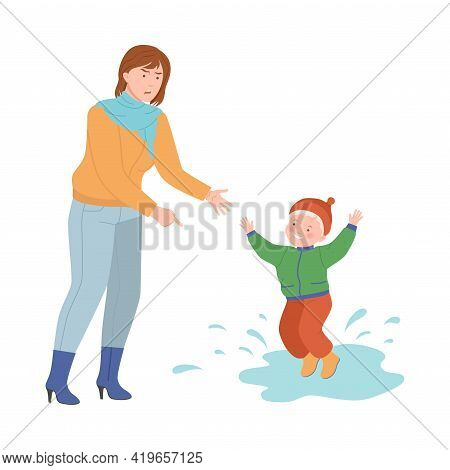 Annoyed Mother Scolding Her Son For Splashing In Puddle Vector Illustration