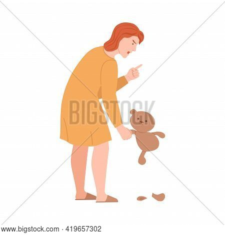 Angry Woman With Ripped Teddy Bear Scolding And Yelling At Somebody Finger Pointing Vector Illustrat