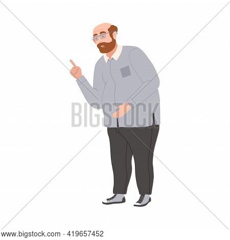 Angry Man Scolding And Yelling At Somebody Finger Pointing Vector Illustration