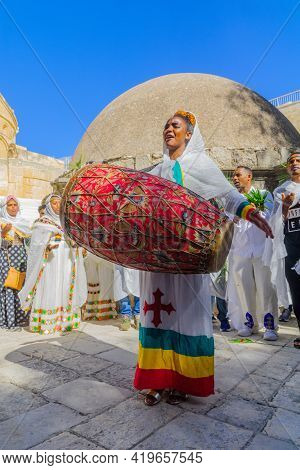 Jerusalem, Israel - May 01, 2021: Paschal Vigil (easter Holy Saturday) Dance Of The Ethiopian Orthod
