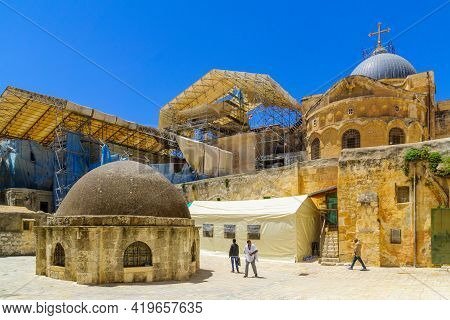 Jerusalem, Israel - May 01, 2021: View Of The Courtyard Of Deir Es-sultan Of The Ethiopian Orthodox