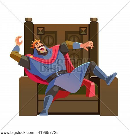 King Laughing On The Throne. Cartoon King Character, Wearing Crown And Mantle, Cartoon Vector Illust
