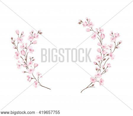 Semicircle Border Arranged Of Twigs Of Sakura Or Cherry Blossom Vector Illustration