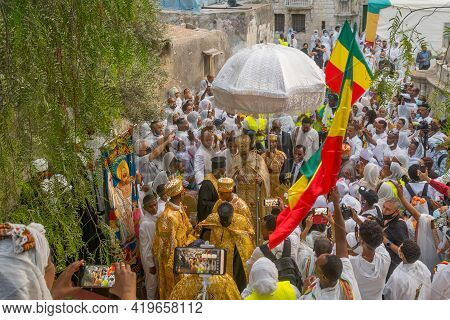 Jerusalem, Israel - May 01, 2021: Kewestos, Ethiopian Orthodox Tewahedo Church Archbishop Of Jerusal