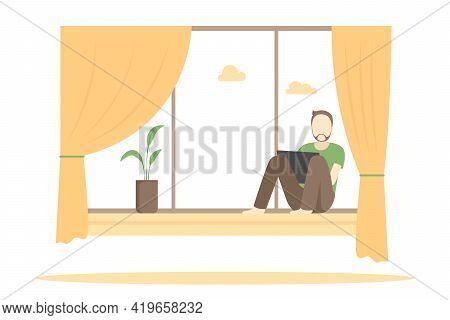Man Sitting On Windowsill And Working On Laptop. Vector Illustration.