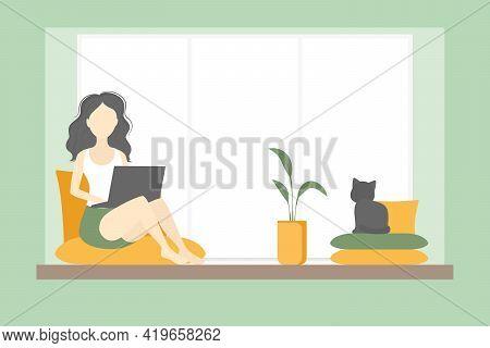 Woman Freelancer Sitting On Windowsill And Working On Laptop. Vector Illustration.