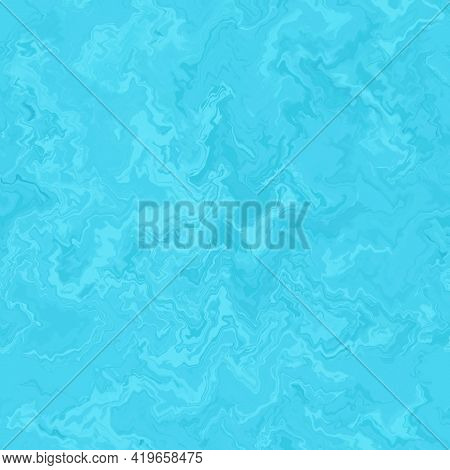Abstract Wave Pattern, Blue Liquid Glass. Glossy Textured Marble Background. Color Glass Grunge Text