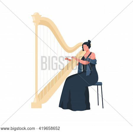 Female Musician In Dress Playing Harp, Sitting On Chair. Harpist Performing Classic Melody On Music