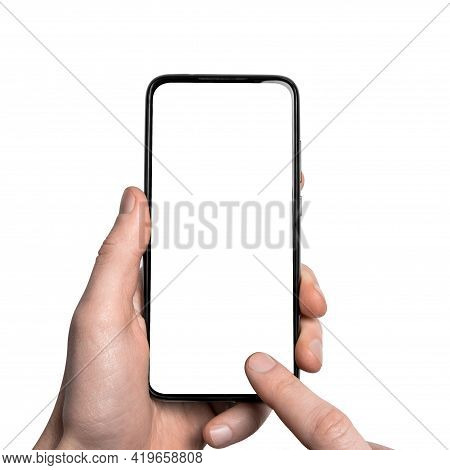 Mock Up, Mockup.man Hand Holding The Black Smartphone With Frame Less Blank Screen And Modern Framel
