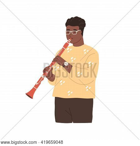 Modern Musician Playing Clarinet. Black-skinned Clarinetist Performing Jazz Music On Woodwind Instru