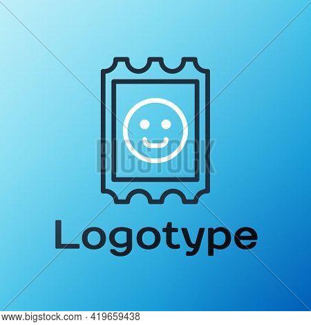 Line Lsd Acid Mark Icon Isolated On Blue Background. Acid Narcotic. Postmark. Postage Stamp. Health