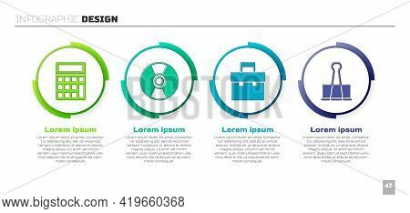 Set Calculator, Cd Or Dvd Disk, Briefcase And Binder Clip. Business Infographic Template. Vector