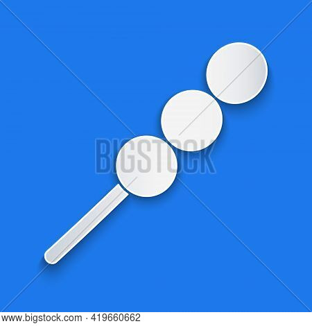 Paper Cut Meatballs On Wooden Stick Icon Isolated On Blue Background. Skewer With Meat. Paper Art St