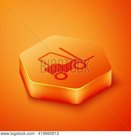 Isometric Forklift Truck Icon Isolated On Orange Background. Fork Loader And Cardboard Box. Cargo De