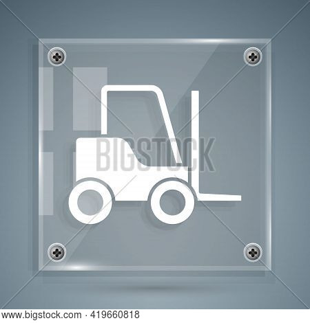 White Forklift Truck Icon Isolated On Grey Background. Fork Loader And Cardboard Box. Cargo Delivery