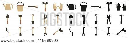 A Set Of Garden Tools In A Flat Style And Silhouettes. Vector Illustration Of A Rake, Gloves, Shovel