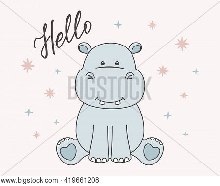 Blue Little Hippo, Hello Hand Lettering And Small Stars Isolated On A Pink Background. Cute Hippopot