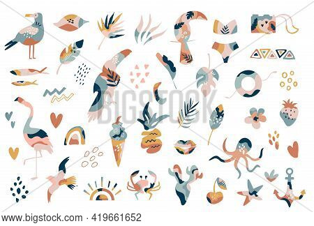 Big Collection Of Hand Drawn Summer Boho Elements Abstract Shapes, Flamingo, Tropical Leaves, Textur