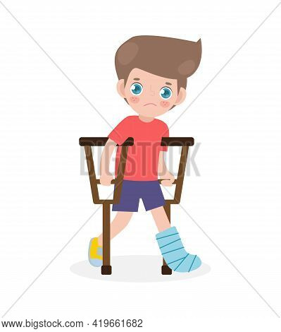 Caucasian Sad Kid Injured With Broken Leg In Gypsum. Little Children Standing On Crutches, Cartoon T