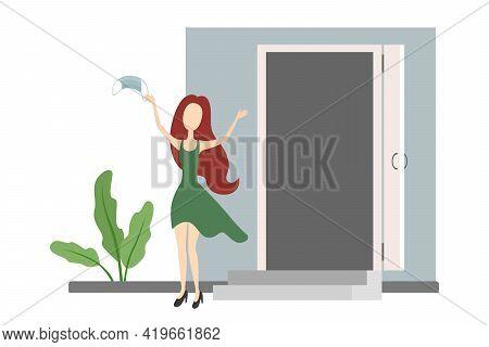 Caucasian Woman Rejoice And Take Off Medical Mask. Quarantine Ending. Vector Illustration.