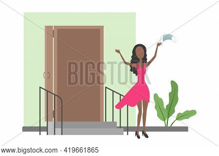 African-american Woman Rejoice And Take Off Medical Mask. Quarantine Cancellation. Vector Illustrati
