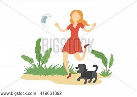 Caucasian Woman Walk Outdoors And Take Off Medical Mask. Quarantine Cancellation. Vector Illustratio