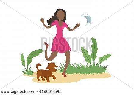 African-american Woman Stroll Outdoors And Take Off Medical Mask. Quarantine Ending. Vector Illustra