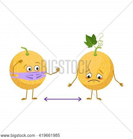 Cute Melon Characters With Emotions, Face And Mask Keep Distance, Arms And Legs. The Funny Or Sad He
