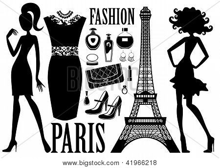Fashionable Set With Silhouettes Of Women