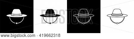 Set Camping Hat Icon Isolated On Black And White Background. Beach Hat Panama. Explorer Travelers Ha