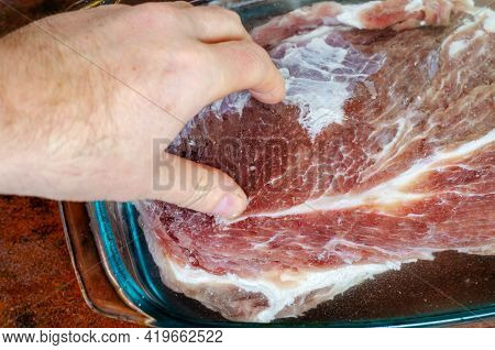 Homemade Capicola (coppa). Dry-cured Pork Loin Step-by-step Recipe. Soaking Stage. Hand Dips The Sal