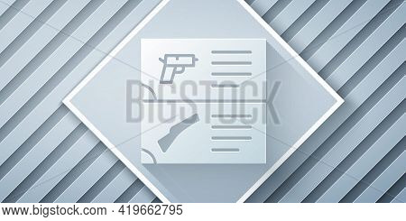 Paper Cut Weapon Catalog Icon Isolated On Grey Background. Police Or Military Handgun. Small Firearm