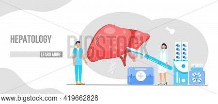 Hepatology Concept Vector For Medical Website, Landing Page. Concept Of Hepatitis A, B, C, D, Cirrho