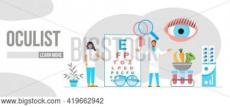Eye Doctor, Oculist Concept For Health Care Banner, Mobile Website. Glaucoma Treatment Concept Vecto