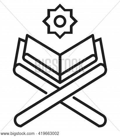 Simple Koran Line Icon Vector For Ramadan Kareem. Eid Al-adha Islam Signs. Mosque, Prayer. Quran Are