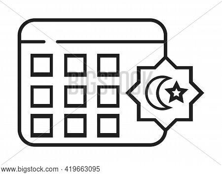 Calendar Ramadan Icon Vector. Ramadan Kareem, Eid Al-adha Islam Signs. Prayer Hands Are Shown.