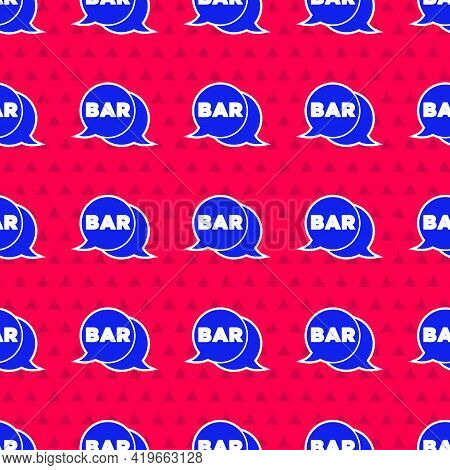 Blue Street Signboard With Inscription Bar Icon Isolated Seamless Pattern On Red Background. Suitabl
