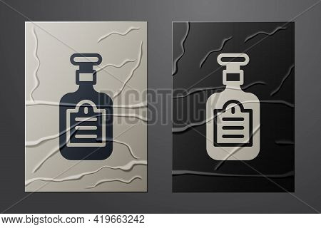 White Sauce Bottle Icon Isolated On Crumpled Paper Background. Ketchup, Mustard And Mayonnaise Bottl