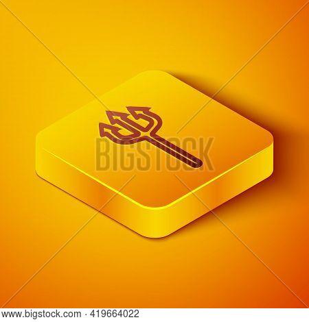 Isometric Line Neptune Trident Icon Isolated On Orange Background. Happy Halloween Party. Yellow Squ