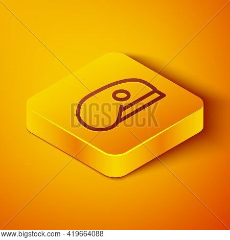 Isometric Line Military Beret Icon Isolated On Orange Background. Soldiers Cap. Army Hat. War Baret.