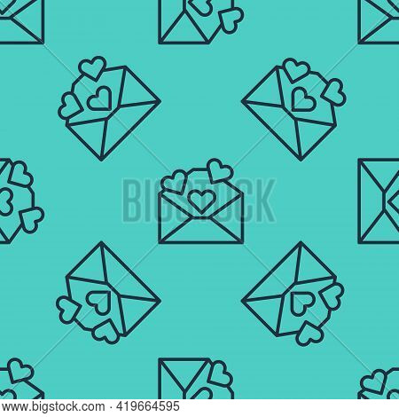 Black Line Envelope With Valentine Heart Icon Isolated Seamless Pattern On Green Background. Message