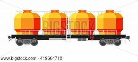 Hopper Car Isolated On White. Railway Car The Tank. Freight Boxcar Wagon. Flatcar Part Of Cargo Trai