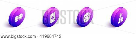 Set Isometric Poker Player, Playing Card With Clubs, Poker Player And Poker Player Icon. Vector