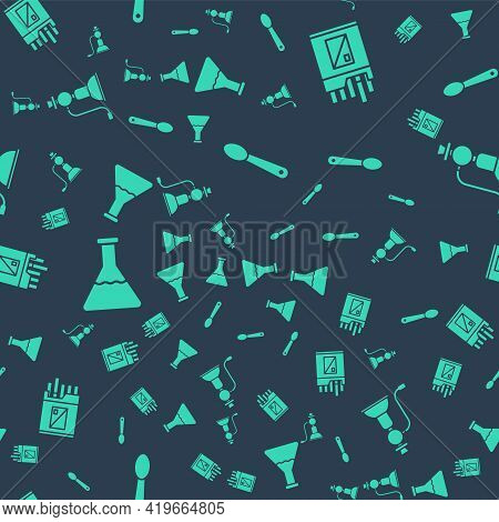 Set Heroin In A Spoon, Open Cigarettes Pack Box, Test Tube And Flask And Hookah On Seamless Pattern.