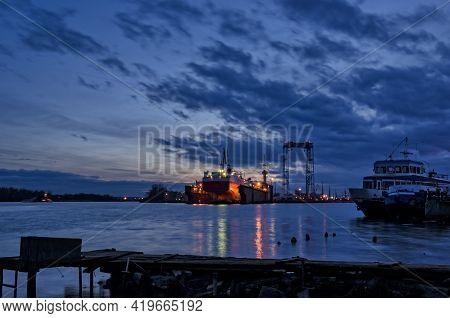 Shipyard - Merchant Vessel In Repair Dock